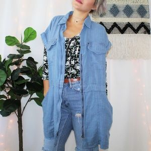 NWT Free People Chambray Linen Cotton Vest